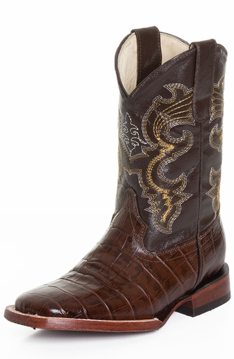 Ferrini Boys Alligator Belly Print Cowboy Boots - Chocolate