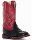 Ferrini Children's Crocodile Curve Print Square Toe Cowboy Boots - Black/ Red