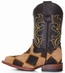 Ferrini Children's Patchwork Square Toe Cowboy Boots - Honey/ Chocolate