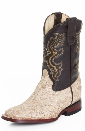 Ferrini Girls Princess Cowboy Boots - Gold/Black (Closeout)