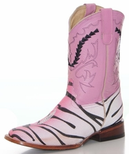 Ferrini Girls Stingray Print Boots with Tiger Design - Pink