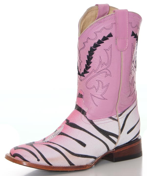 Ferrini Girls Stingray Print Boots with Tiger Design - Pink (Closeout)