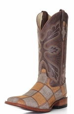 "Ferrini Men's 12"" Patchwork Square Toe Cowboy Boots - Honey/ Brown"