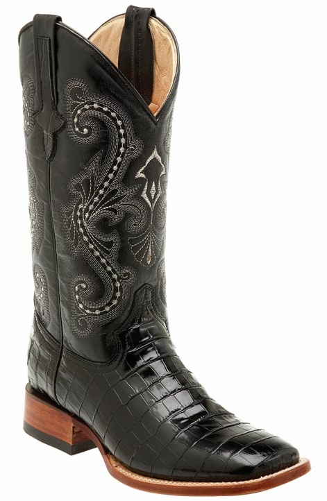 "Ferrini Men's Alligator Belly Print 13"" Square Toe Cowboy Boots - Black"