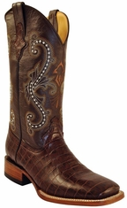 "Ferrini Men's Alligator Belly Print 13"" Square Toe Cowboy Boots - Chocolate"