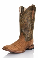 "Ferrini Men's Suede Alligator Print 12"" Square Toe Boots - Honey"