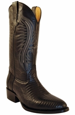 "Ferrini Men's Teju Lizard 13"" Round Toe Cowboy Boots - Black"