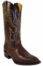 "Ferrini Men's Teju Lizard 13"" Round Toe Cowboy Boots - Chocolate"