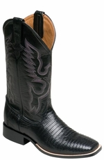 "Ferrini Men's Teju Lizard 13"" Square Toe Cowboy Boots - Black"