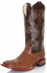 "Ferrini Mens 12"" Caiman Print Square Toe Croc Cowboy Boots - Brown"