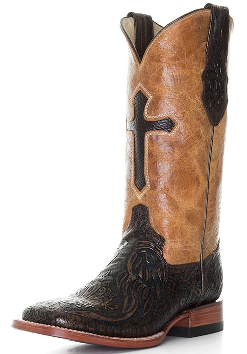 """Ferrini Women's 12"""" Embossed Cross Square Toe Cowgirl Boots - Gold/ Brown"""