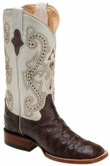 "Ferrini Women's Anteater Print 12"" Square Toe Cowboy Boots - Chocolate/ Pearl"
