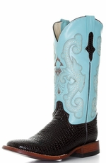 "Ferrini Women's Baby Gator Print 12"" Square Toe Cowboy Boots - Chocolate/ Baby Blue"