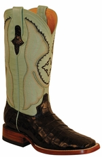 "Ferrini Women's Caiman Belly 12"" Square Toe Cowboy Boots - Black/ Mint"