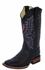 "Ferrini Women's Cowhide 12"" Square Toe Cowboy Boots - Black"