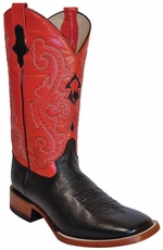 "Ferrini Women's Cowhide 12"" Square Toe Cowboy Boots - Black/ Red"