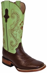 "Ferrini Women's Cowhide 12"" Square Toe Cowboy Boots - Chocolate/ Lime"