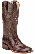 "Ferrini Women's Gator Print 12"" Square Toe Cowboy Boots - Chocolate (Closeout)"