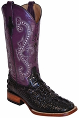 "Ferrini Women's Hornback Caiman Print 12"" Square Toe Cowboy Boots - Black/ Purple"