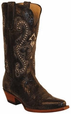 "Ferrini Women's Old Crazy Distressed 12"" Snip Toe Cowboy Boots - Black"
