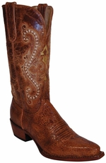 "Ferrini Women's Old Crazy Distressed 12"" Snip Toe Cowboy Boots - Cognac"