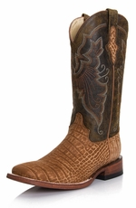 "Ferrini Women's Suede Alligator Print 12"" Square Toe Boots - Honey"