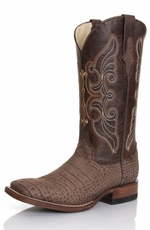 "Ferrini Women's Suede Alligator Print 12"" Square Toe Boots - Taupe"