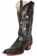 Ferrini Womens Distressed Cowhide Floral Snip Toe Cowboy Boots - Teal (Closeout)