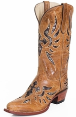 "Ferrini Womens Laser 12"" V Toe Cross Underlay Cowboy Boots - Antique Saddle (Closeout)"