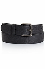 Five Star Womens Floral Stamped Leather Belt - Black