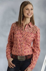 Roper Five Star Hearts On Fire Womens Long Sleeve Lattice Yoke Western Shirt - Orange (Closeout)