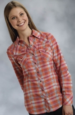 Roper Five Star Hearts On Fire Womens Long Sleeve Plaid Snap Western Shirt - Orange (Closeout)