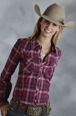 Roper Five Star Purple Magic Womens Long Sleeve Plaid Western Shirt - Purple