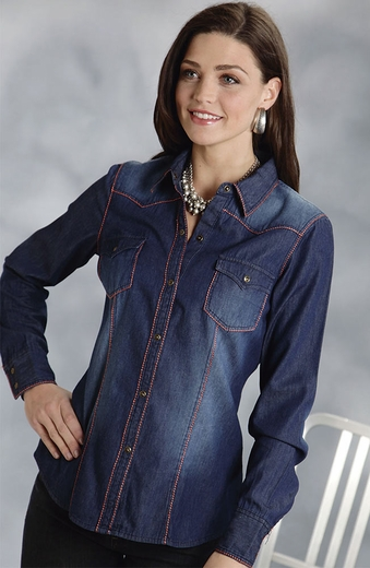 Roper Five Star Hearts On Fire Womens Long Sleeve Denim Shirt - Blue (Closeout)