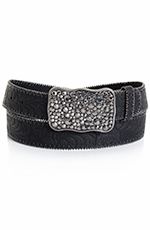 Five Star Womens Stone Buckle Leather Belt - Black (Closeout)