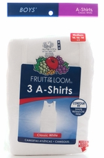 Fruit of the Loom Boy's 3Pk A Shirts - White (Closeout)