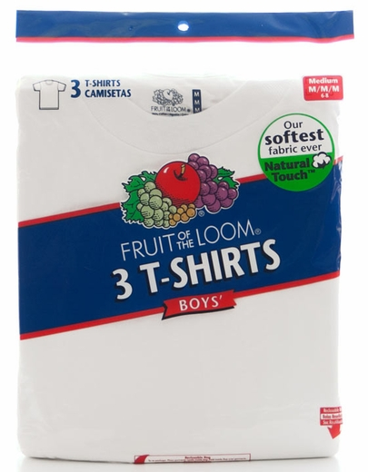 Fruit of the Loom Boy's 3Pk Crew Neck T-Shirts - White (Closeout)