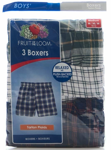 Fruit of the Loom Boy's 3PkTartan Plaid Boxers (Closeout)