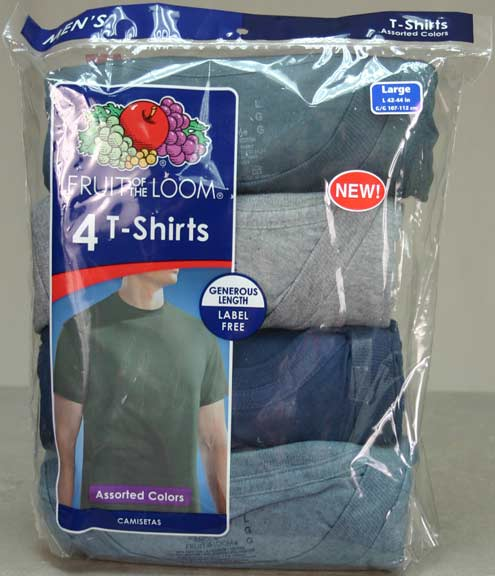Fruit of the Loom Men's 4PK T-Shirts - Assorted Colors