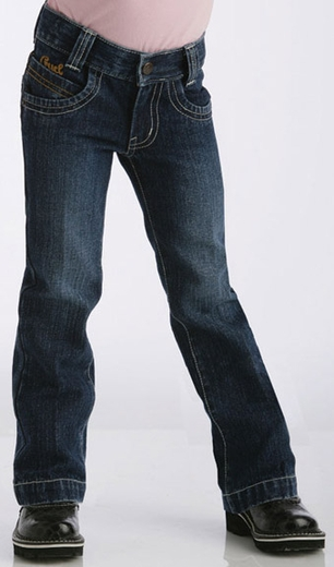 Girl's Cruel Girl Utility Jeans (Sizes 1T-4T) - Dark Stonewash (Closeout)