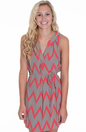 Glam Womens Dot Zig Zag Sleeveless Mini Dress - Taupe(Closeout)