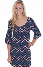 Glam Womens Dot Zig Zag Split Sleeve Dress - Navy (Closeout)