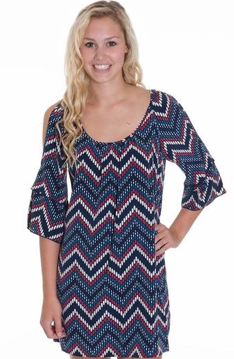 Glam Womens Dot Zig Zag Split Sleeve Dress - Navy