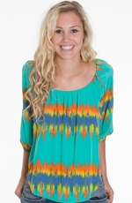 Glam Womens Zig Zag Blouse - Mint (Closeout)