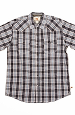 Dakota Grizzly Mens Brodi Short Sleeve Plaid Snap Western Shirt - Haze