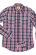 Dakota Grizzly Mens Harper Long Sleeve Plaid Snap Western Shirt - Twilight