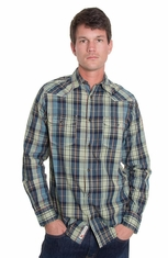 Grizzly Mens Harper Western Shirt - Atlantic (Closeout)