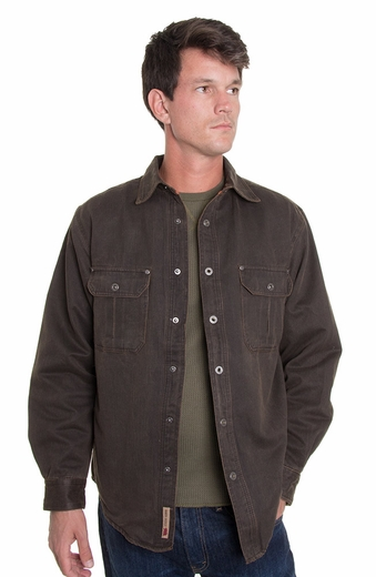 Grizzly Mens Dalton Flannel Lined Jacket - Tobacco