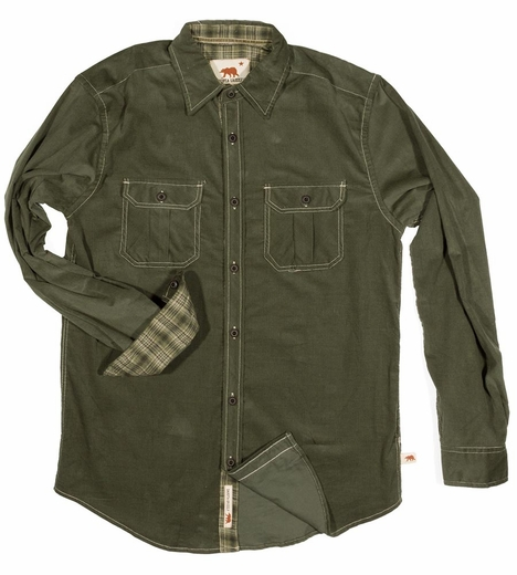 Dakota Grizzly Mens Jackson Cord Shirt Jacket - Elm