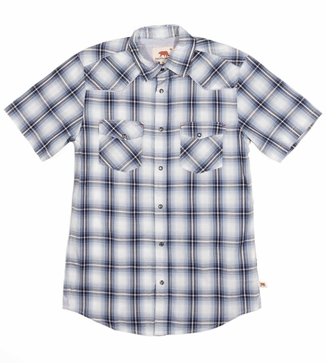 Dakota Grizzly Mens Tate Short Sleeve Plaid Snap Western Shirt - Frost